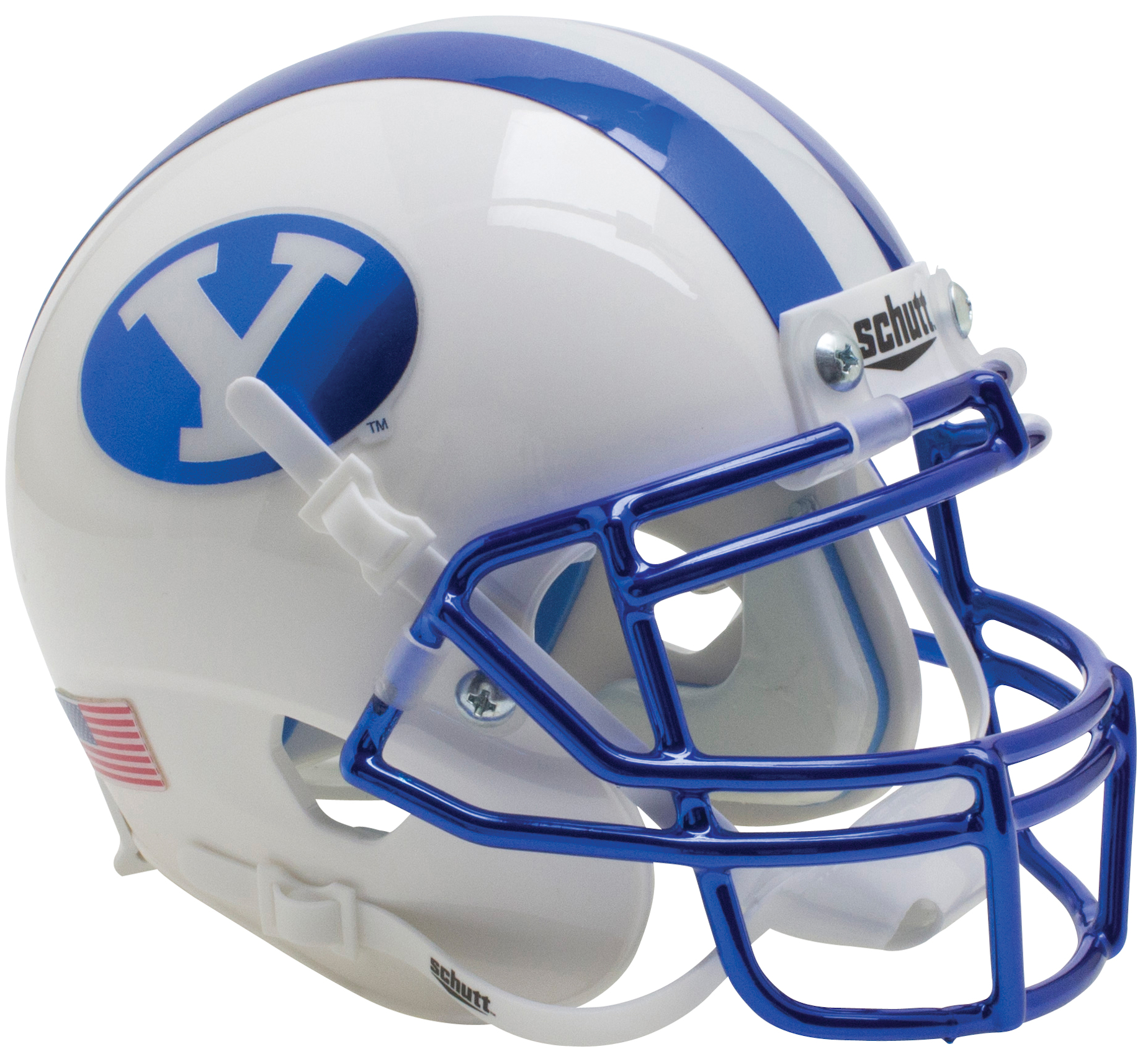 Brigham Young Cougars Authentic College XP Football Helmet Schutt <B>Chrome Blue Decal and Mask</B>