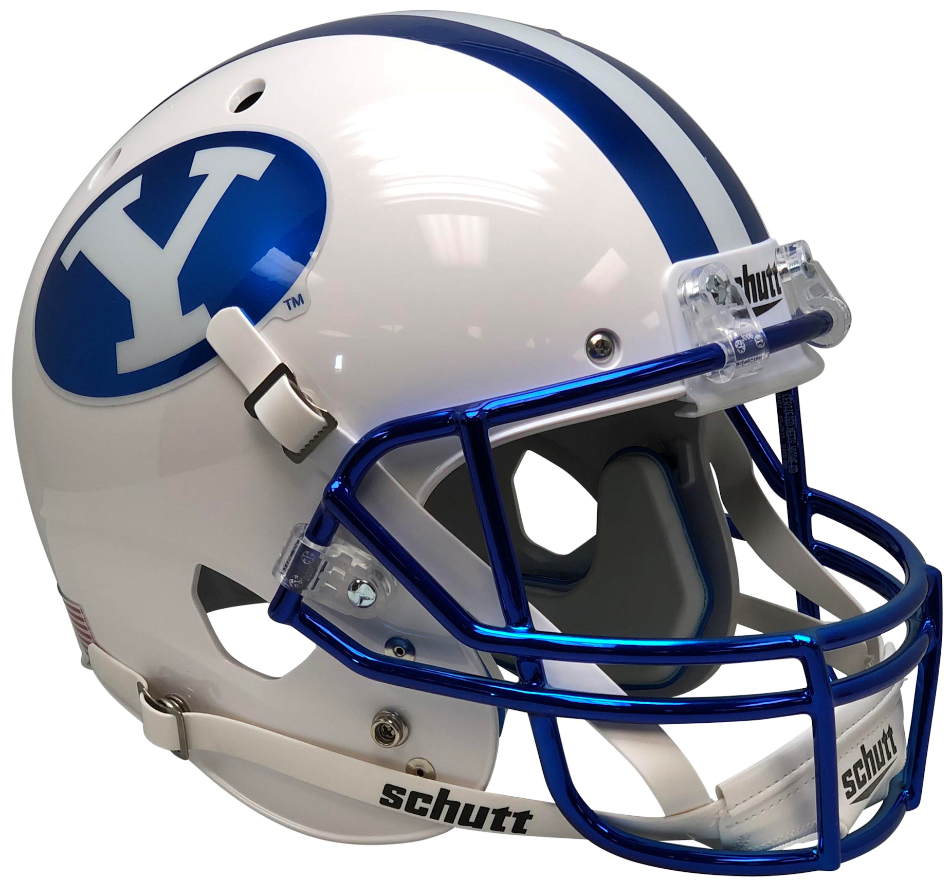 Brigham Young Cougars Full XP Replica Football Helmet Schutt <B>Chrome Blue Decal and Mask</B>