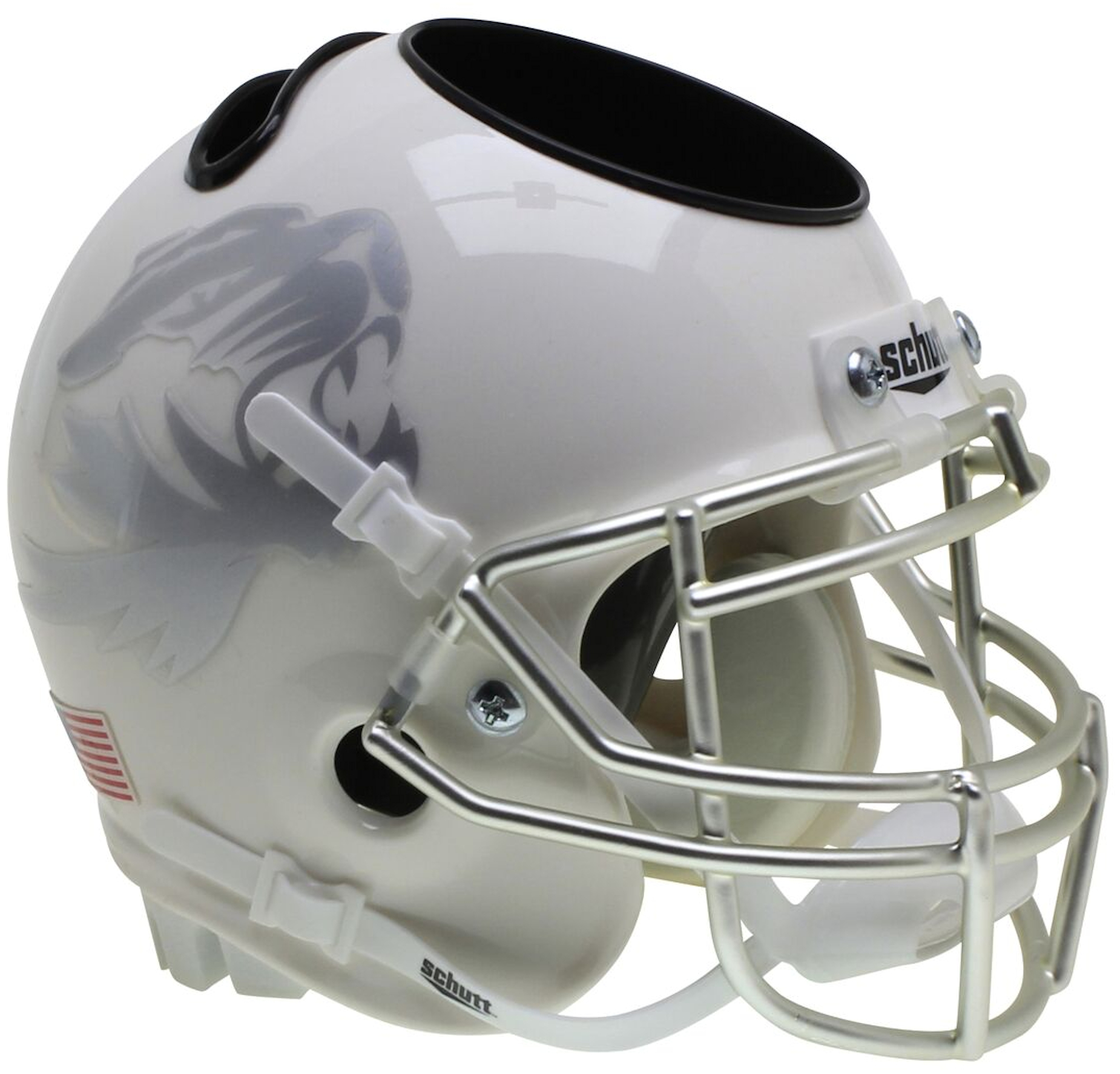 Missouri Tigers Miniature Football Helmet Desk Caddy <B>White with Metallic Silver Mask</B>