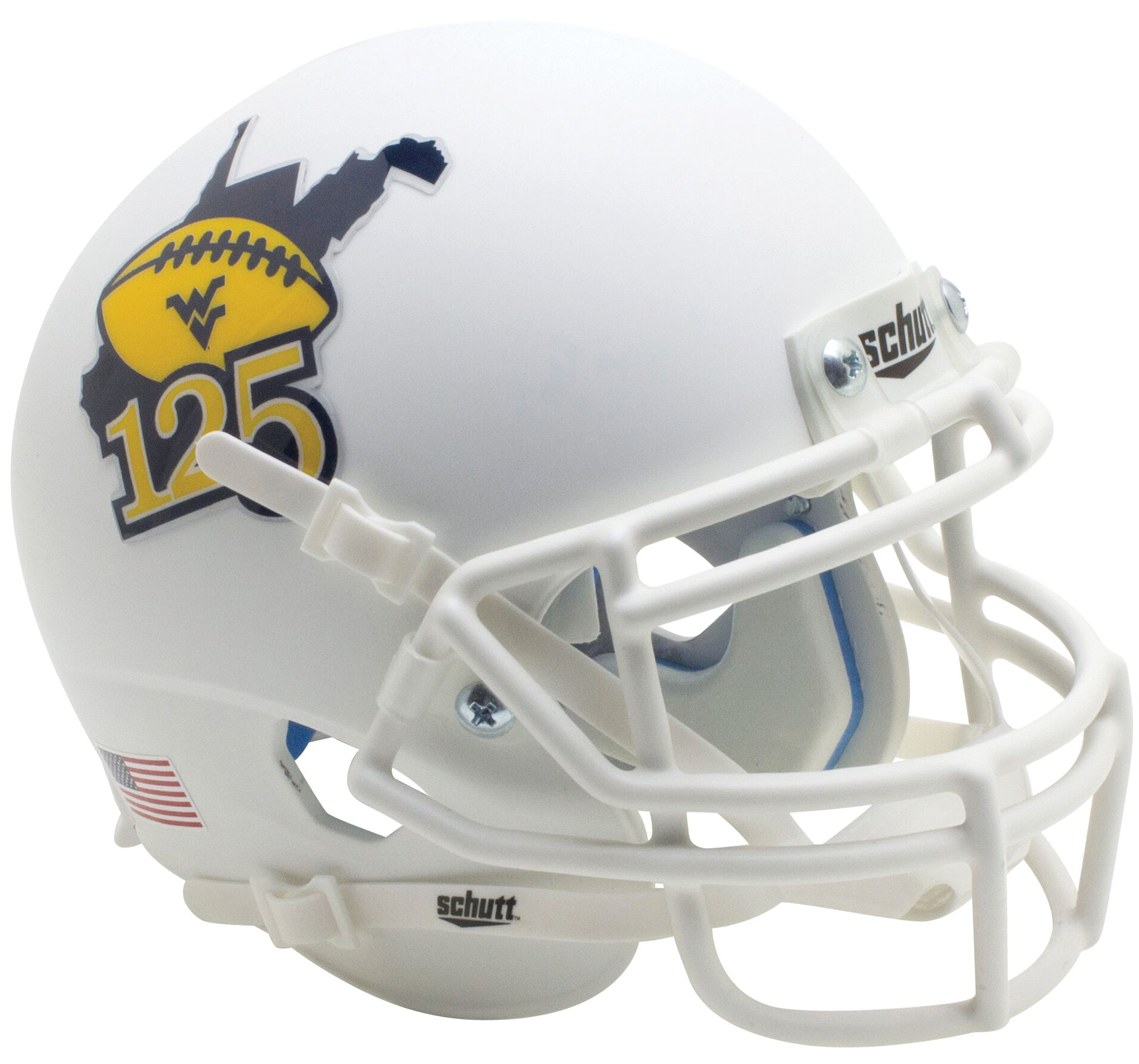 West Virginia Mountaineers Mini XP Authentic Helmet Schutt <B>Matte White 125</B>