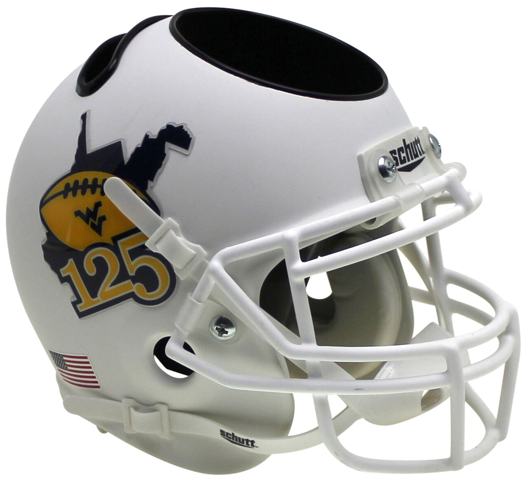 West Virginia Mountaineers Miniature Football Helmet Desk Caddy <B>Matte White 125</B>