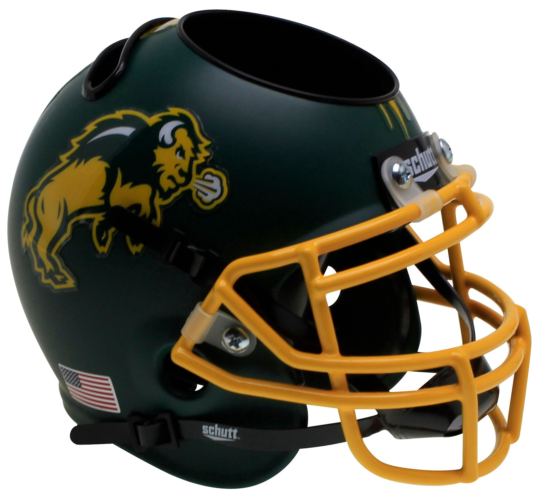 North Dakota State Bison Mini Football Helmet Desk Caddy <B>Matte Green</B>