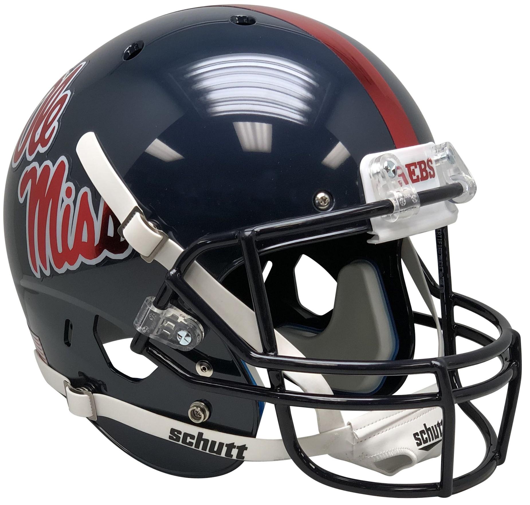 Mississippi (Ole Miss) Rebels Full XP Replica Football Helmet Schutt <B>Chrome Decal</B>