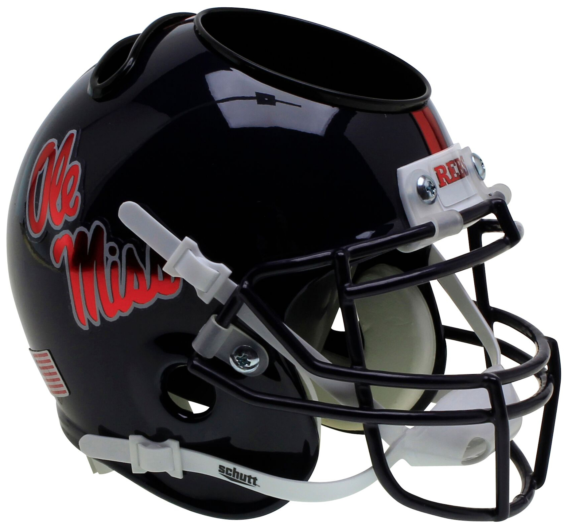 Mississippi (Ole Miss) Rebels Miniature Football Helmet Desk Caddy <B>Chrome Decal</B>