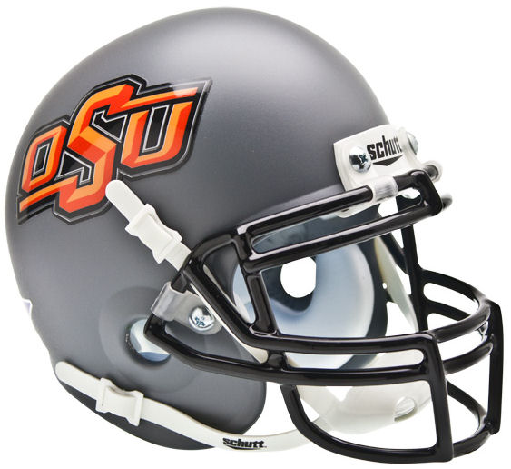 Oklahoma State Cowboys Mini XP Authentic Helmet Schutt <B>Matte Gray</B>