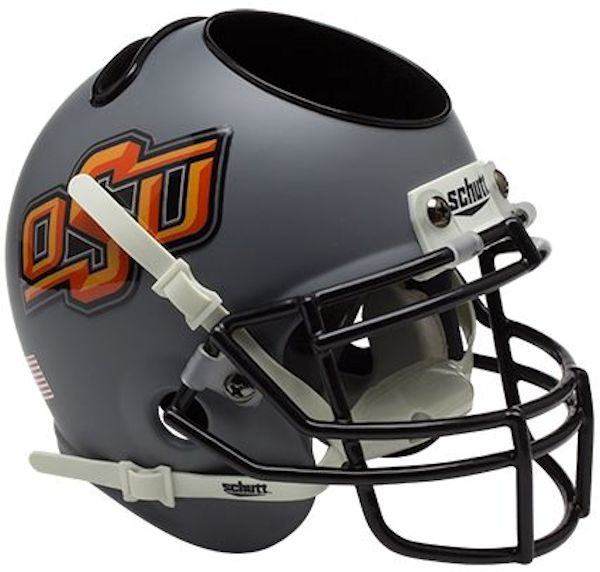 Oklahoma State Cowboys Miniature Football Helmet Desk Caddy <B>Matte Gray</B>