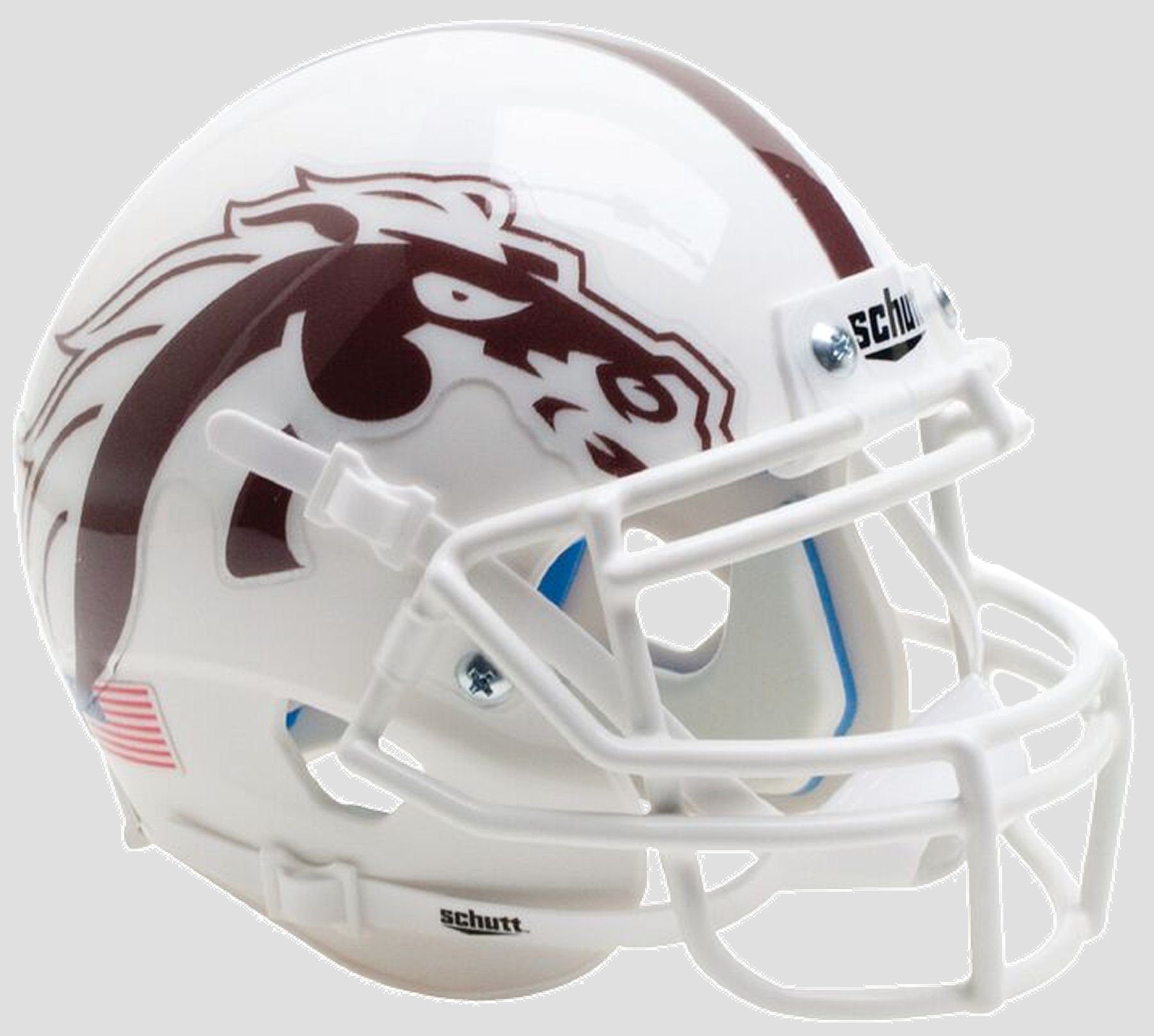Western Michigan Broncos Mini XP Authentic Helmet Schutt <B>White with White Mask</B>