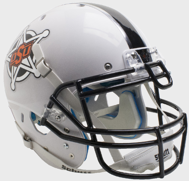 Oklahoma State Cowboys Authentic College XP Football Helmet Schutt <B>White Badge</B>