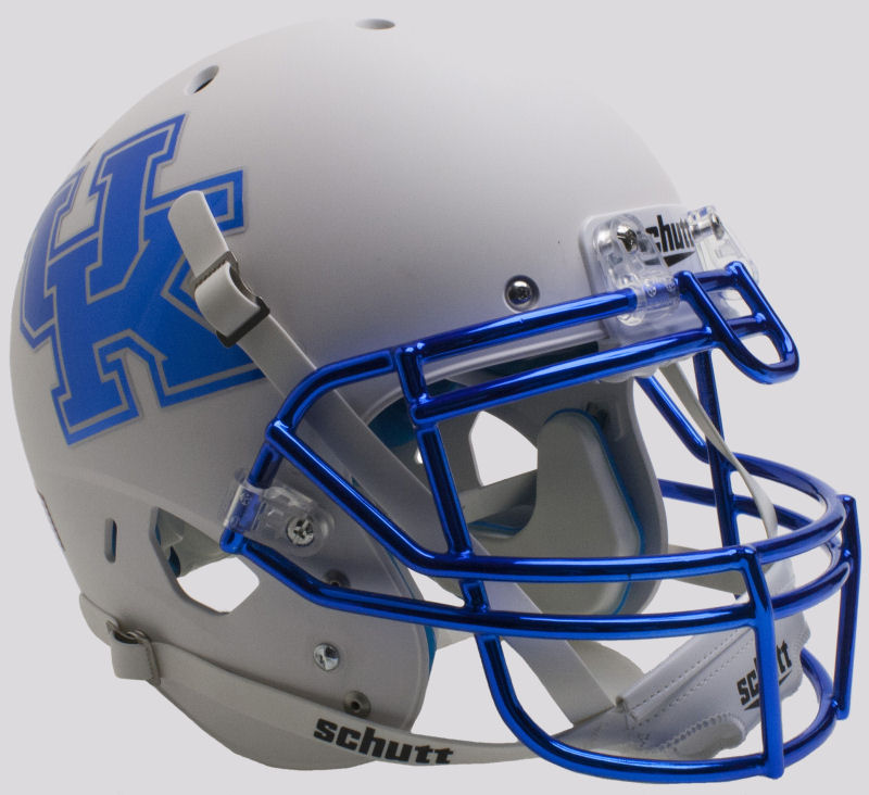Kentucky Wildcats Authentic College XP Football Helmet Schutt <B>Matte White Chrome Mask</B>