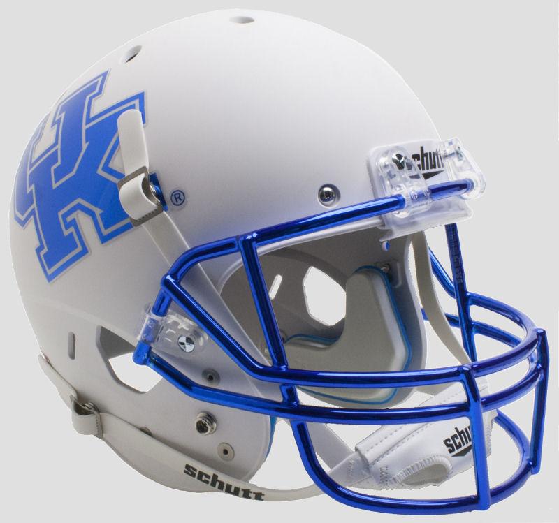 Kentucky Wildcats Full XP Replica Football Helmet Schutt <B>Matte White Chrome Mask</B>