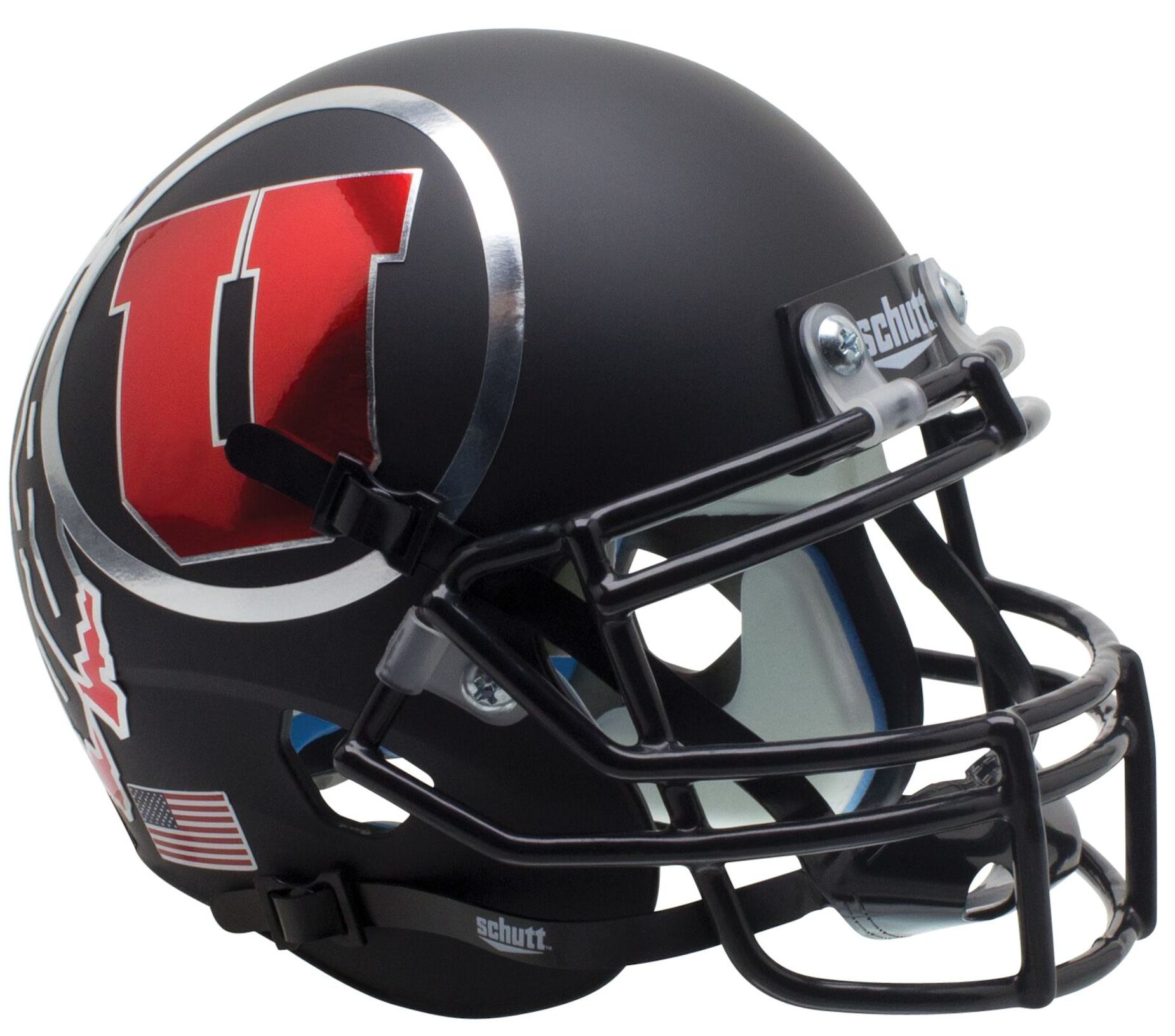 Utah Utes Mini XP Authentic Helmet Schutt <B>Alt 7 Chrome Decal<B>