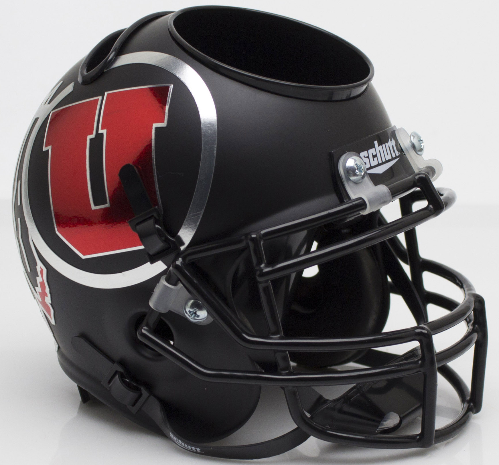 Utah Utes Miniature Football Helmet Desk Caddy <B>Alt 7 Chrome Decal</B>