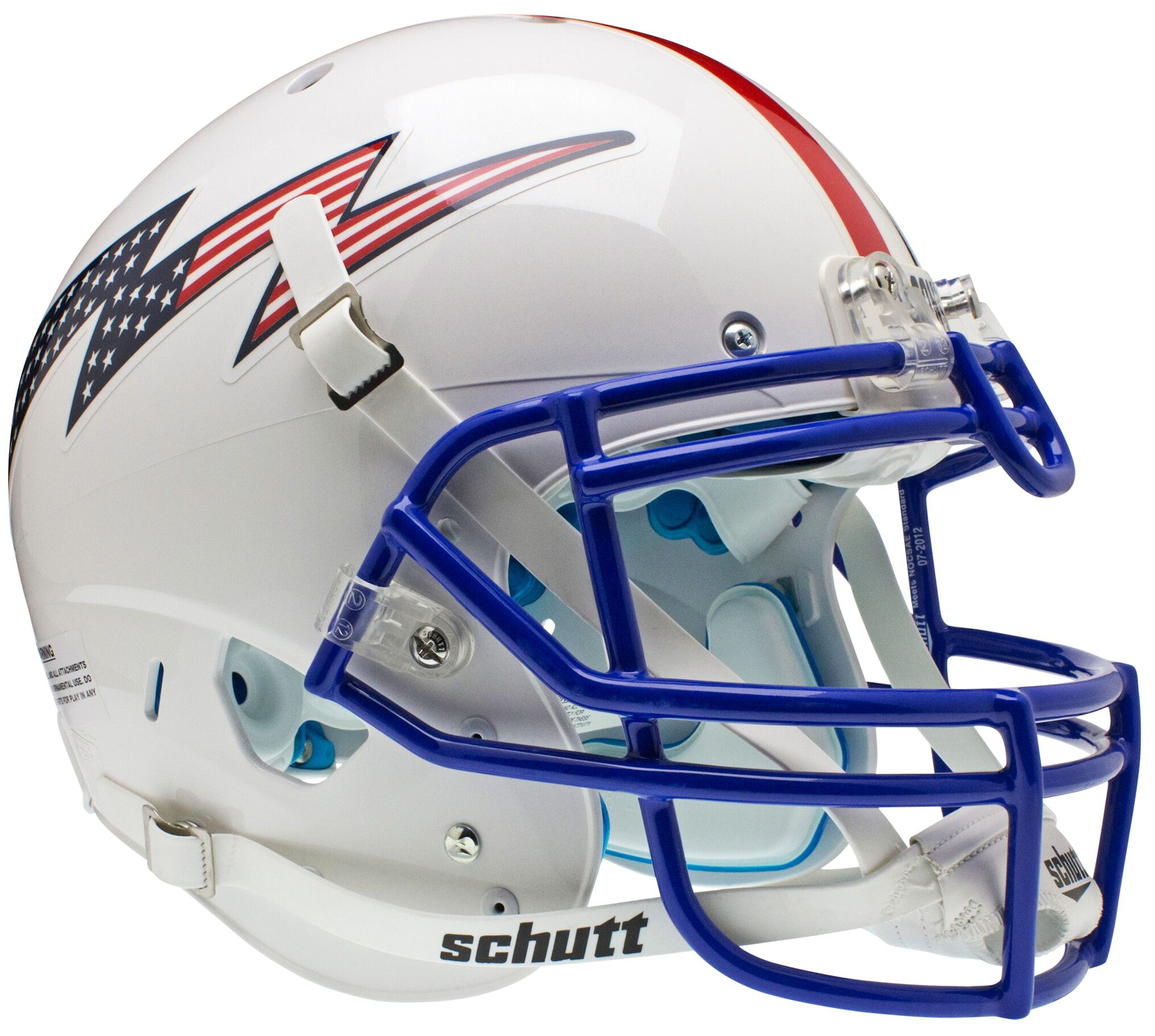 Air Force Falcons Authentic College XP Football Helmet Schutt <B>Flag Bolt with Stripe</B>