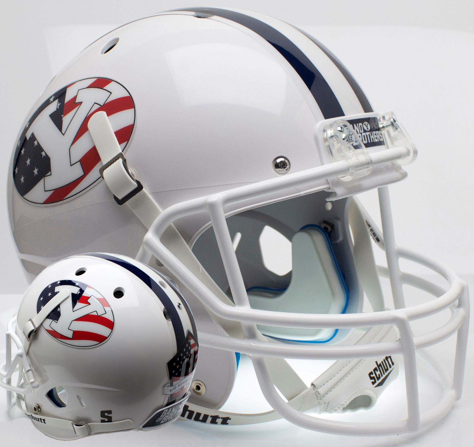 Brigham Young Cougars Full XP Replica Football Helmet Schutt <B>Never Forget</B>