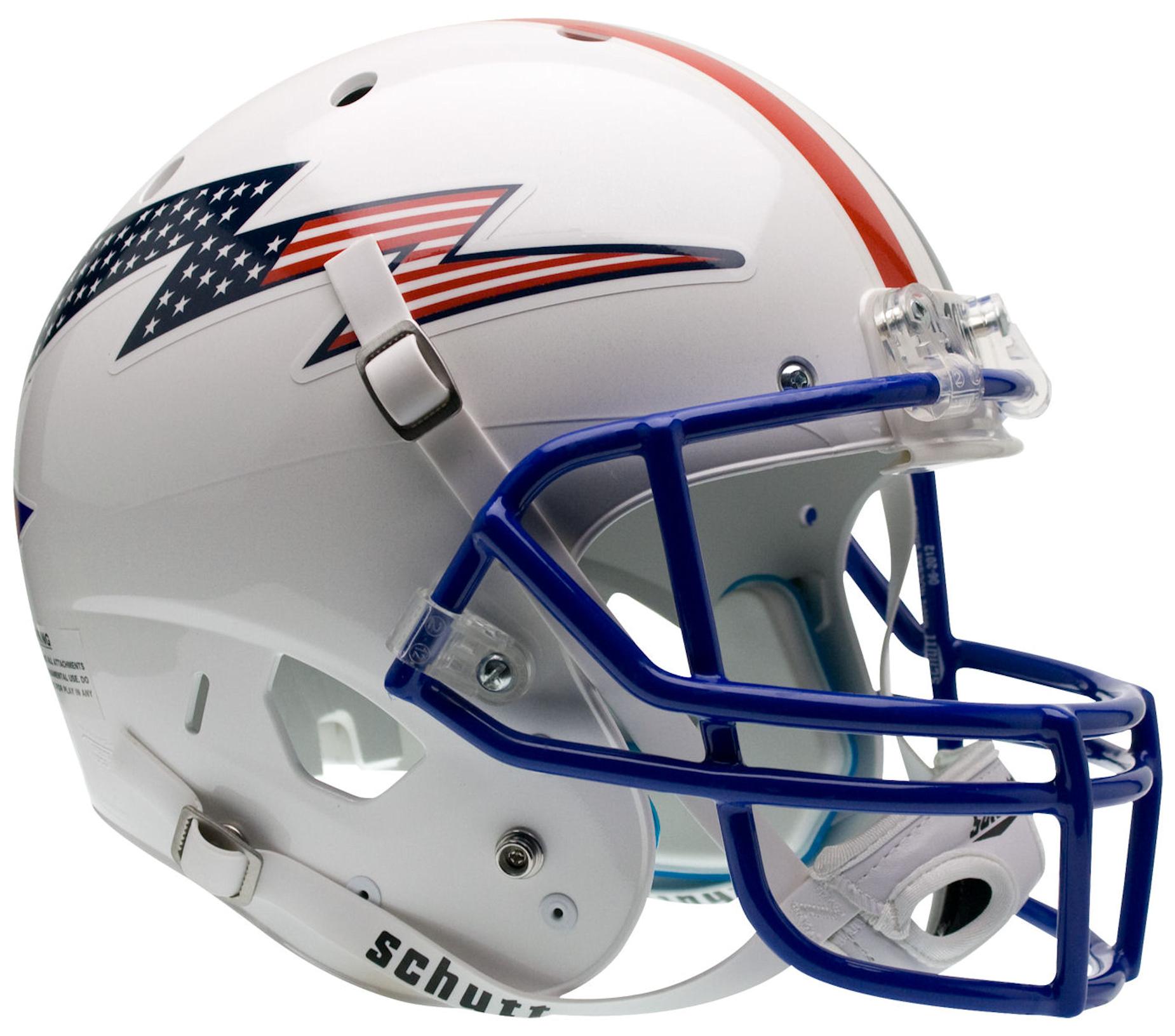 Air Force Falcons Full XP Replica Football Helmet Schutt <B>Flag Bolt with Stripe</B>