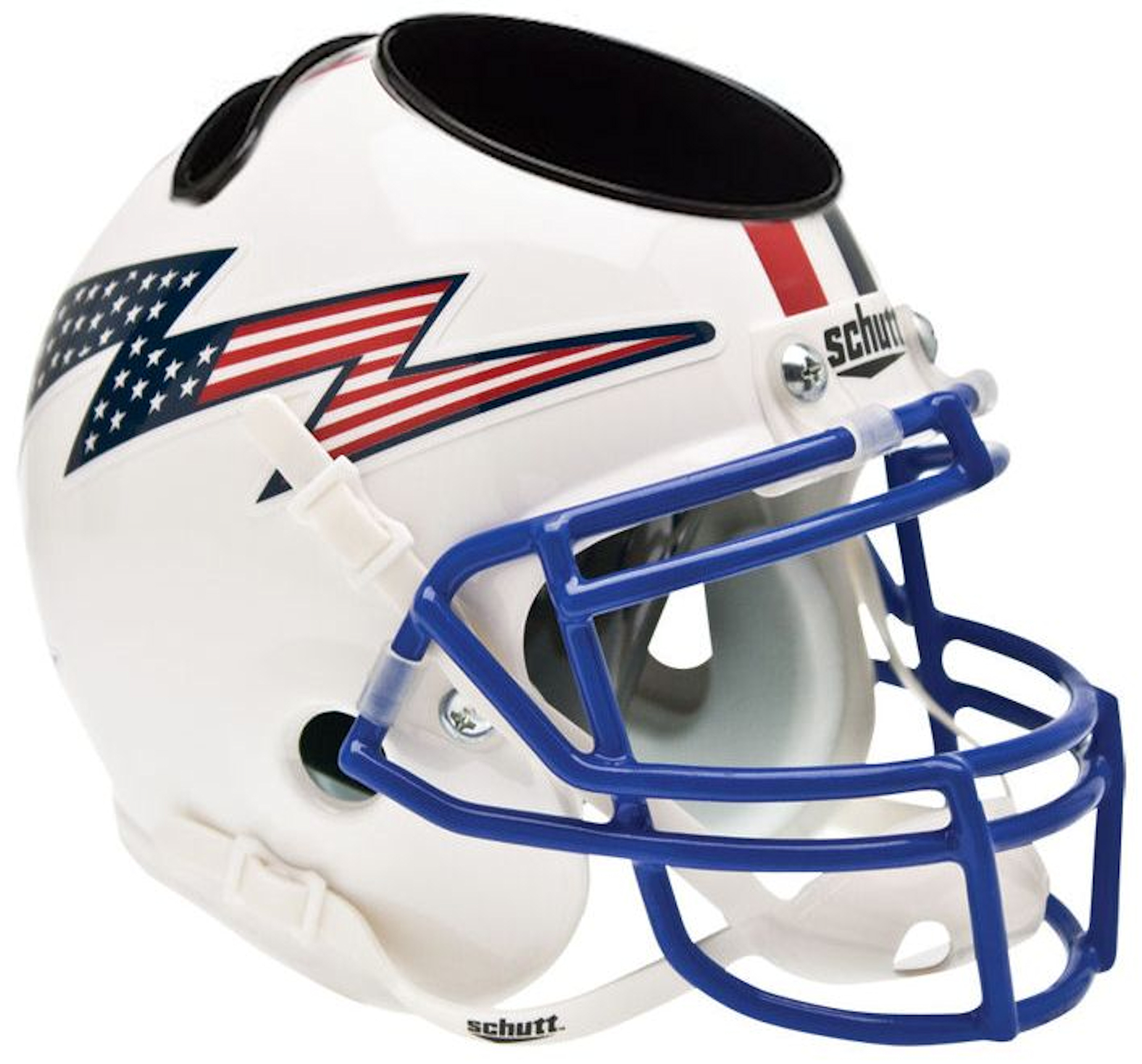 Air Force Falcons Mini Football Helmet Desk Caddy <B>Flag Bolt with Stripe</B>