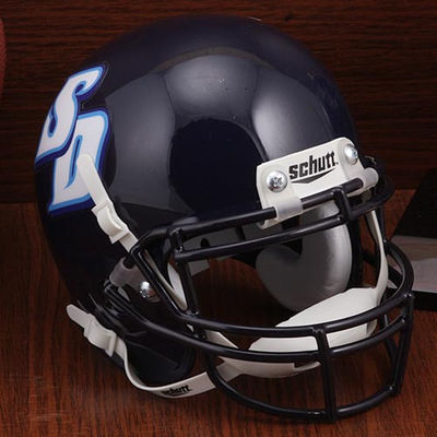 San Diego Toreros Mini XP Authentic Helmet Schutt Genuine on-field helmet, scaled down to 14 size. Real metal faceguard. Hard durable shell. Complete interior pad set. Helmet measures approximately6(L), 5(W), 5H). Not to be worn