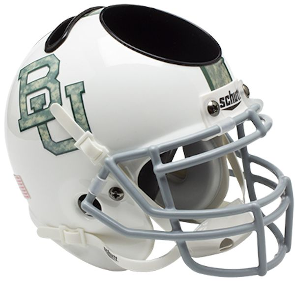 Baylor Bears Miniature Football Helmet Desk Caddy <B>White Camo</B>
