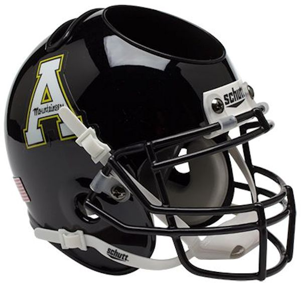 Appalachian State Mountaineers Miniature Football Helmet Desk Caddy <B>Matte Black</B>