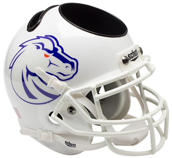 Boise State Broncos Miniature Football Helmet Desk Caddy <B>White</B>