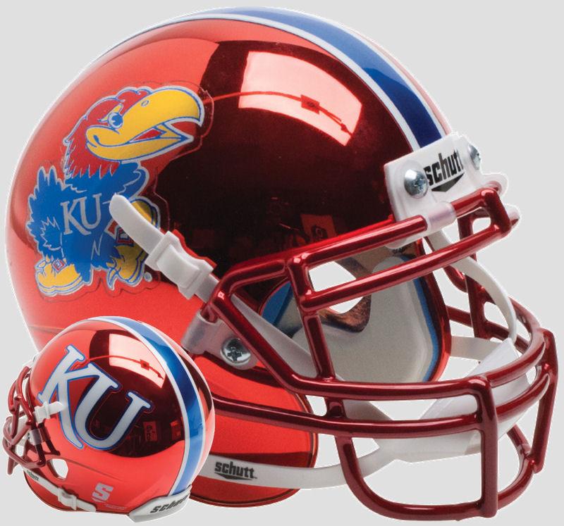Kansas Jayhawks Full XP Replica Football Helmet Schutt <B>Red Chrome</B>