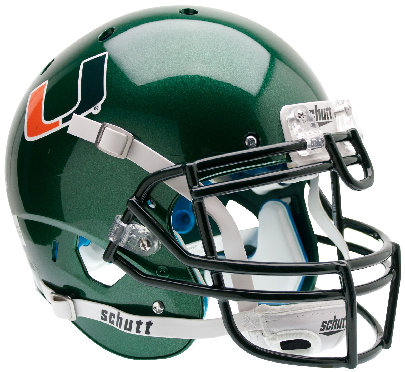 Miami Hurricanes Authentic College XP Football Helmet Schutt <B>Green</B>