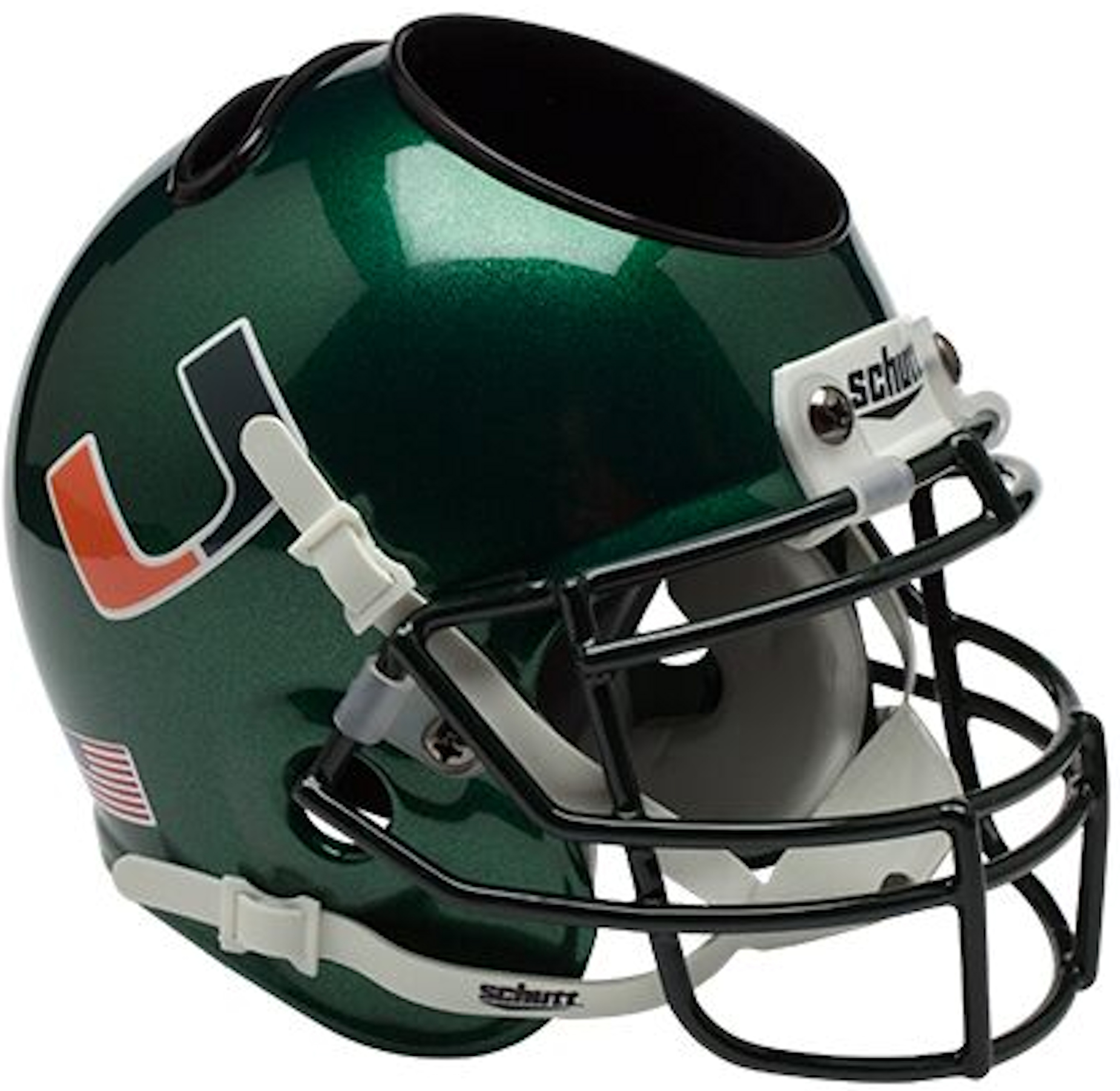 Miami Hurricanes Miniature Football Helmet Desk Caddy <B>Green</B>
