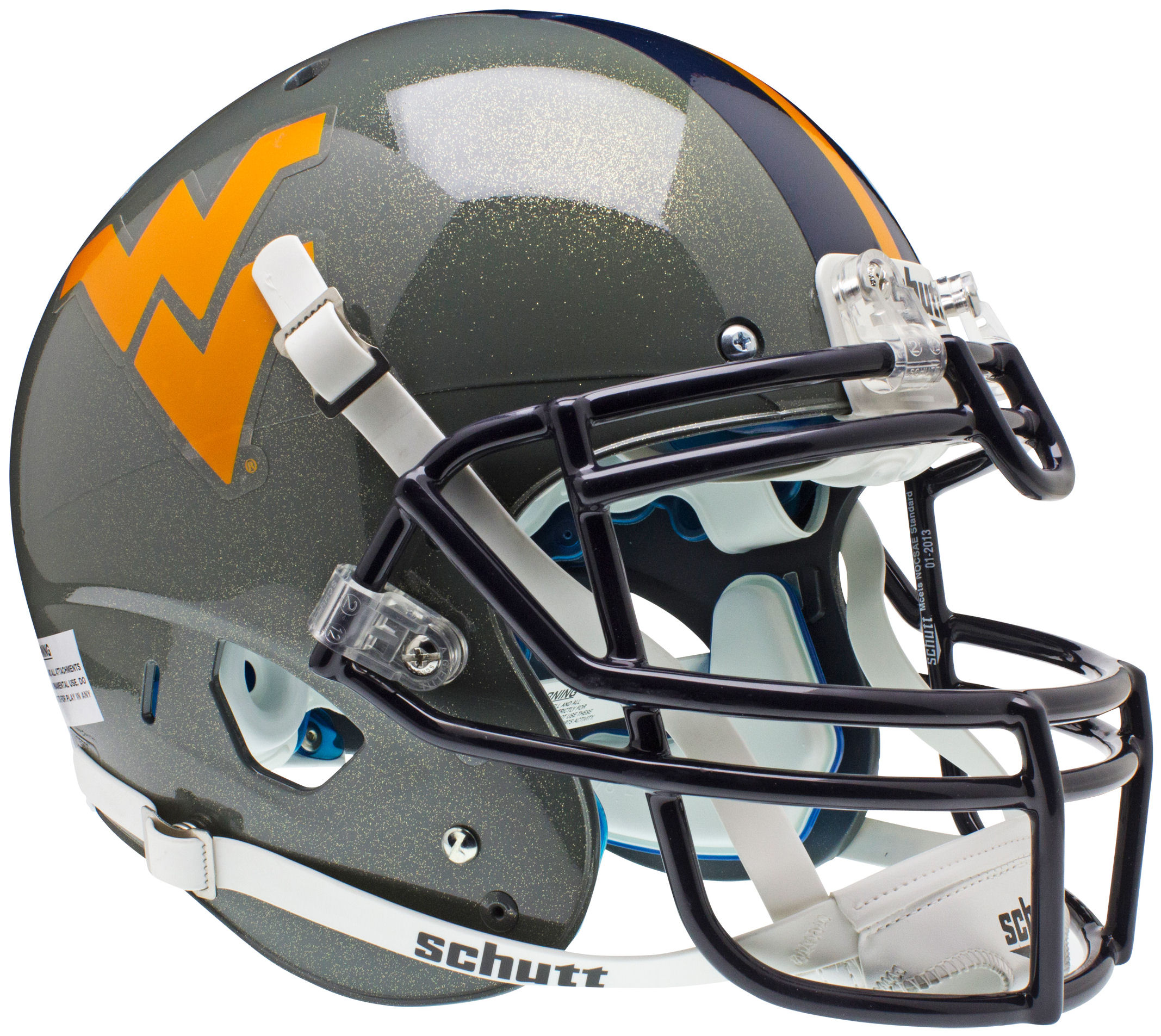 West Virginia Mountaineers Authentic College XP Football Helmet Schutt <B>Gray Sparkles</B>