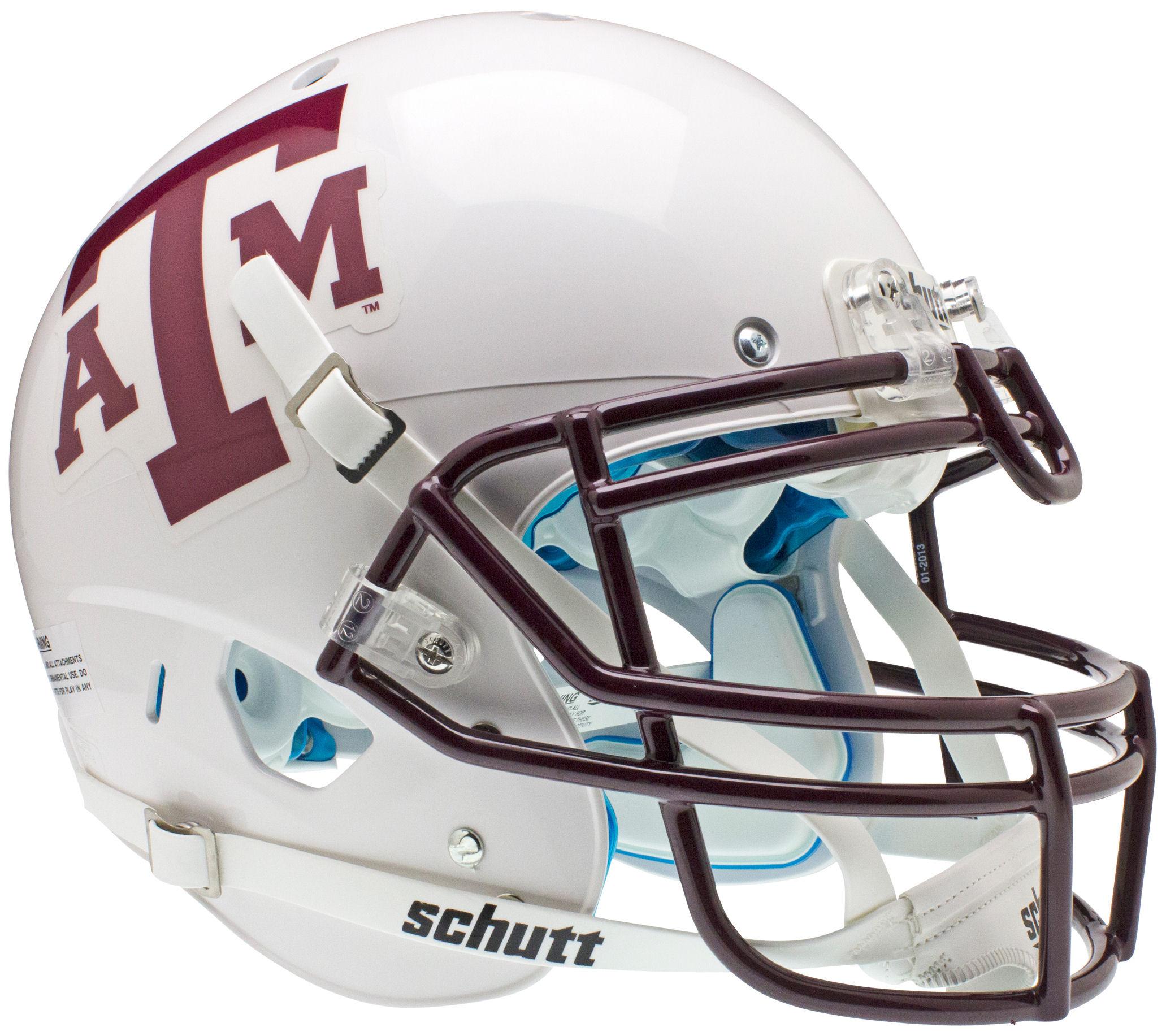 Texas A&M Aggies Authentic College XP Football Helmet Schutt <B>White Maroon Mask</B>