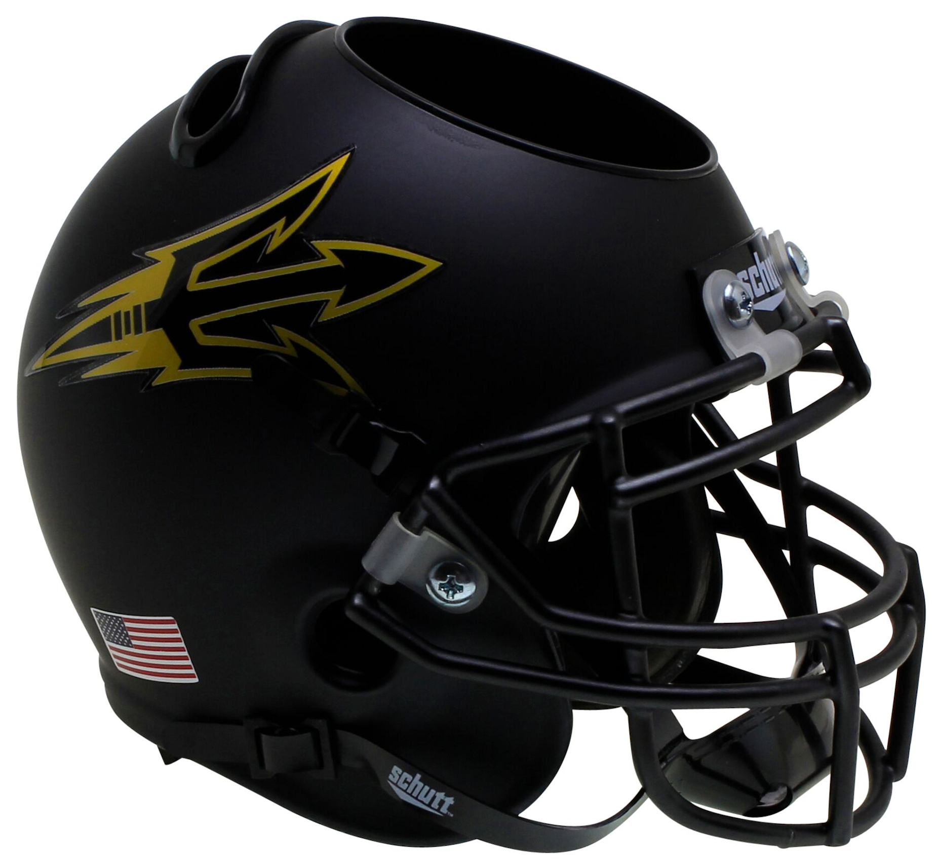 Arizona State Sun Devils Miniature Football Helmet Desk Caddy <B>Matte Black Small Pitchfork</B>