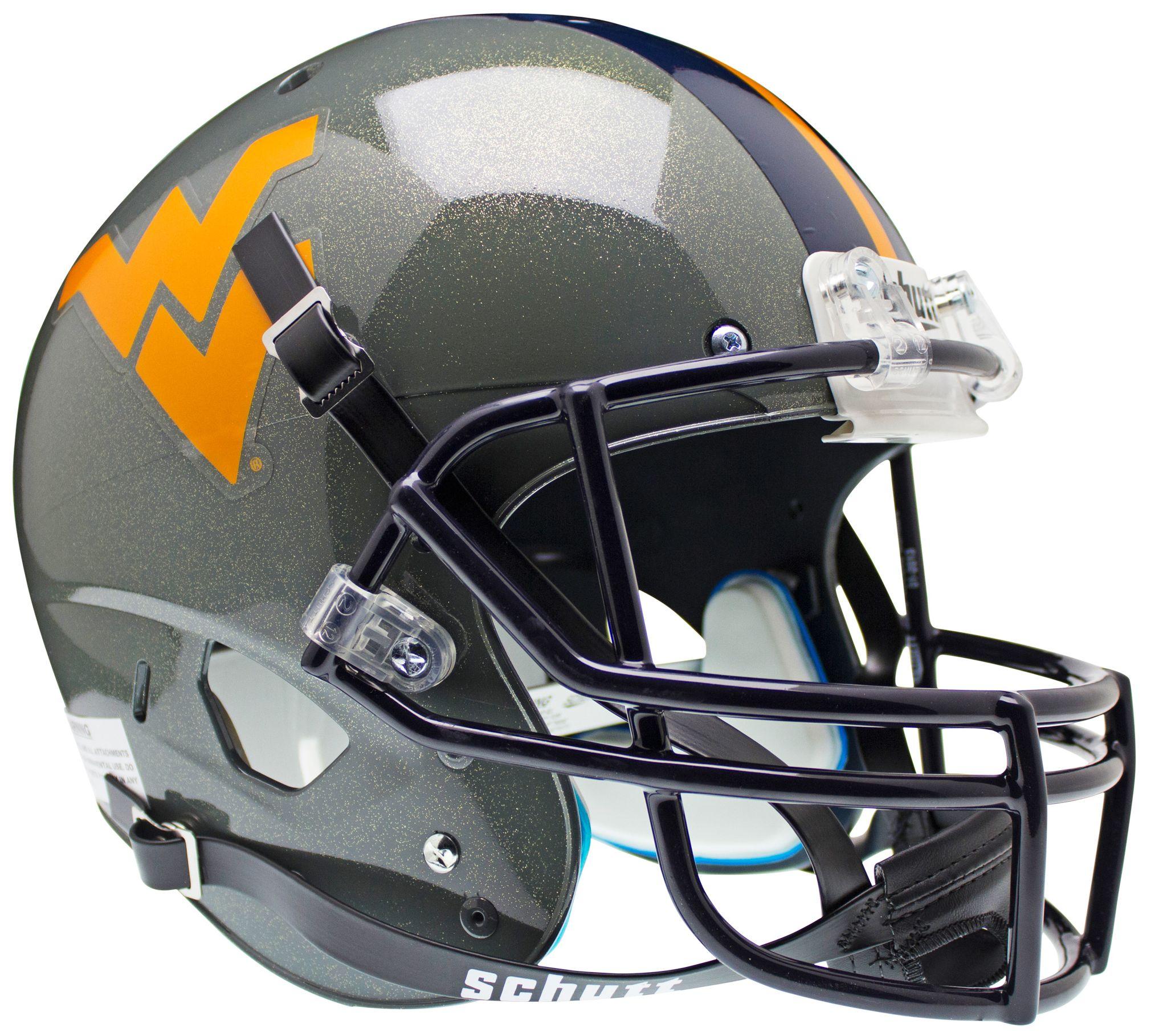 West Virginia Mountaineers Full XP Replica Football Helmet Schutt <B>Gray Sparkles</B>