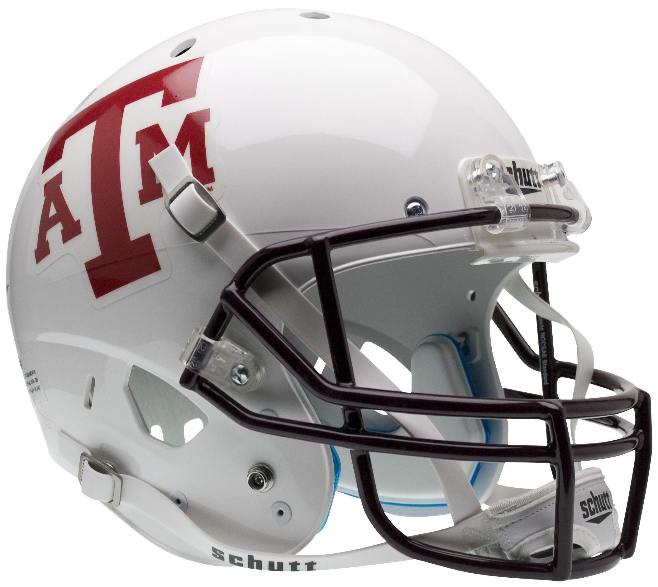 Texas A&M Aggies Full XP Replica Football Helmet Schutt <B>White Maroon Mask</B>