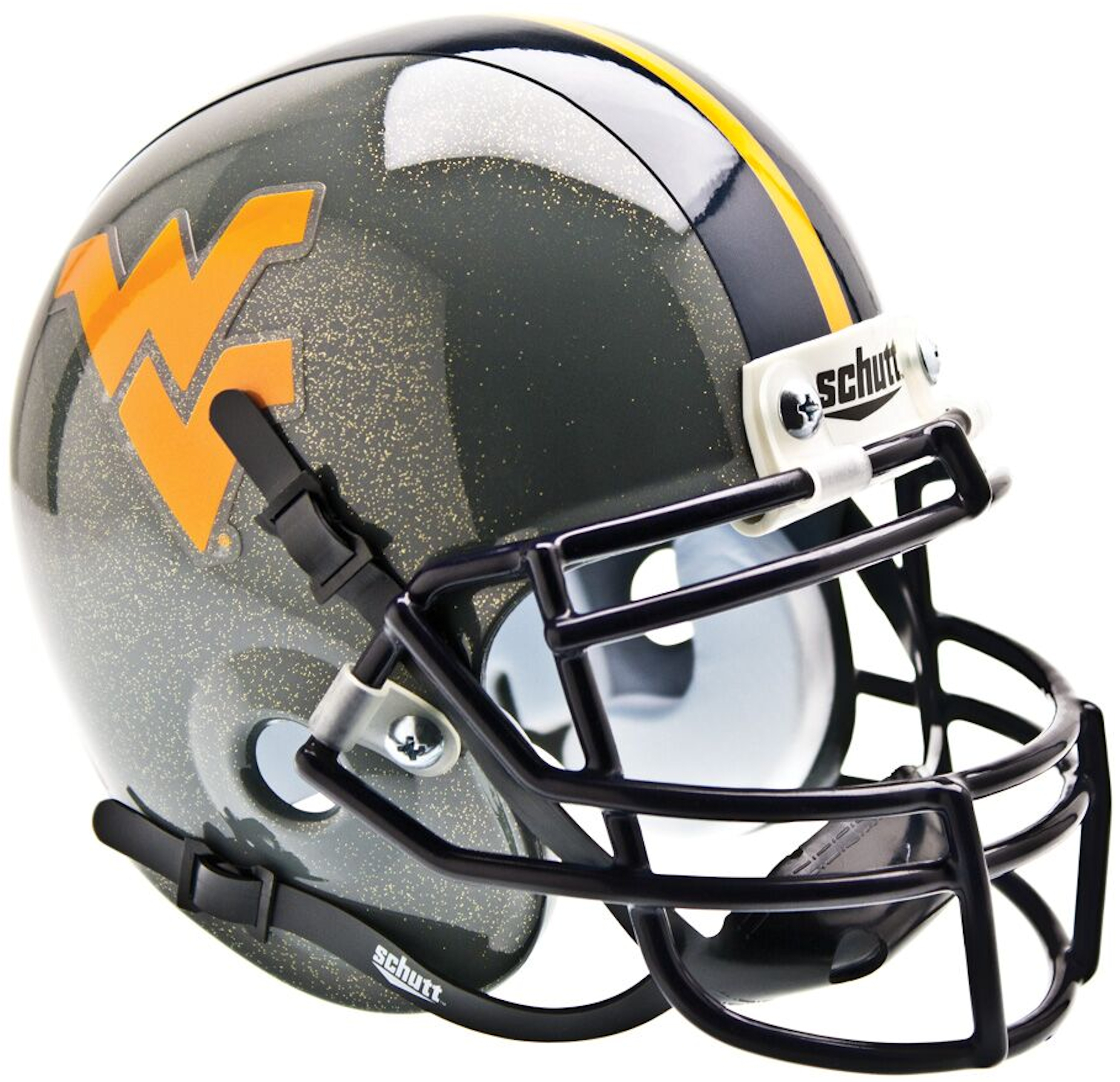 West Virginia Mountaineers Mini XP Authentic Helmet Schutt <B>Gray Sparkles</B>