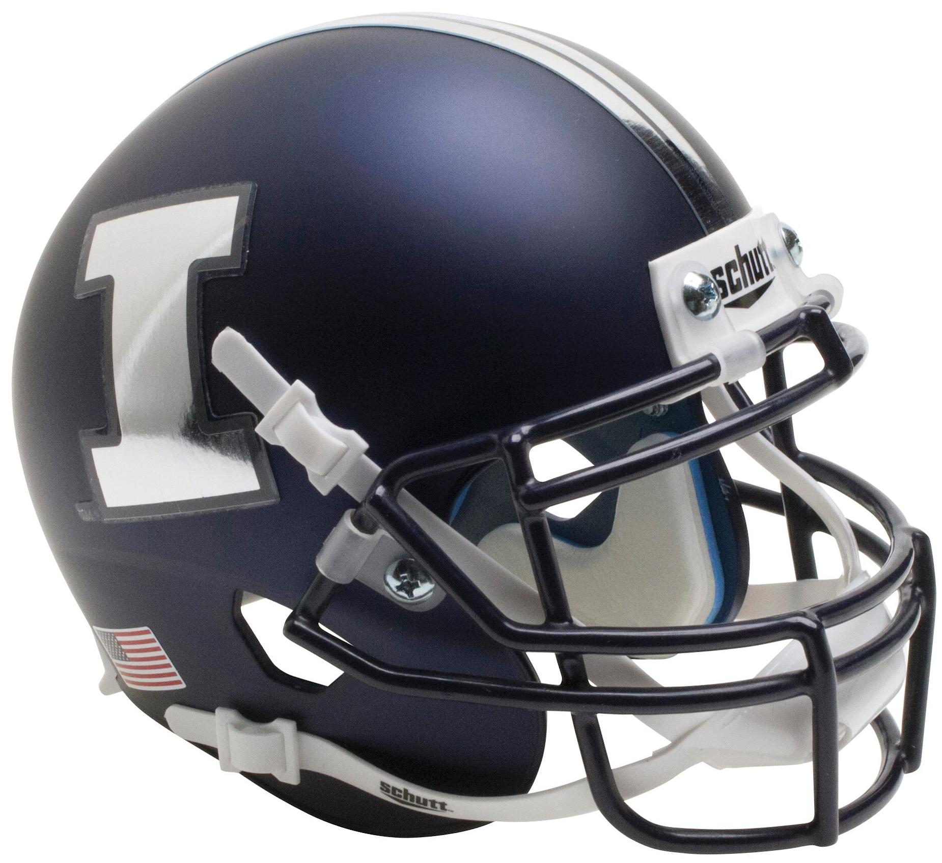 Illinois Fighting Illini Full XP Replica Football Helmet Schutt <B>Matte Navy Chrome Decal</B>