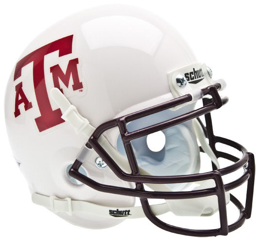 Texas A&M Aggies Mini XP Authentic Helmet Schutt <B>White Maroon Mask</B>