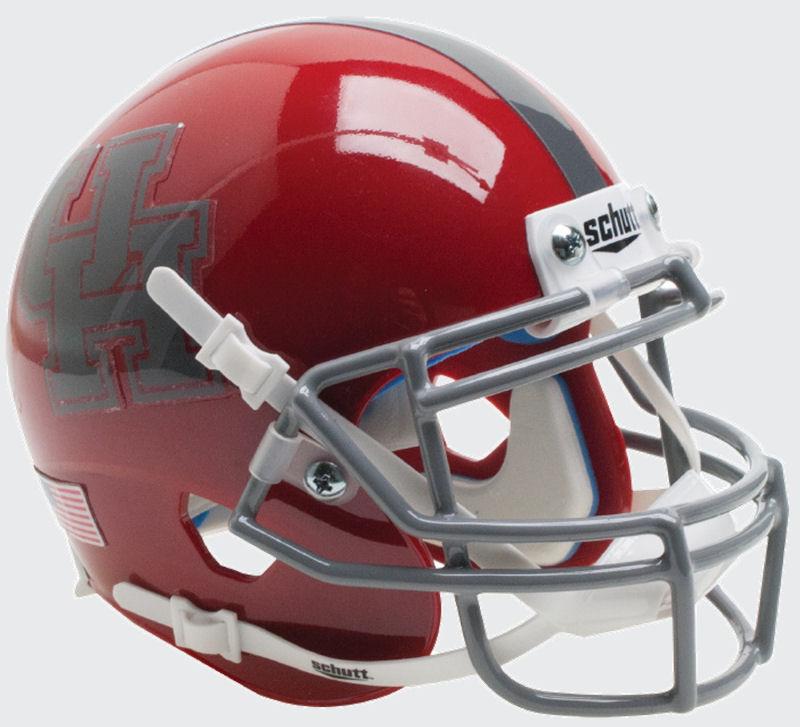 Houston Cougars Full XP Replica Football Helmet Schutt <B>Gray Mask</B>
