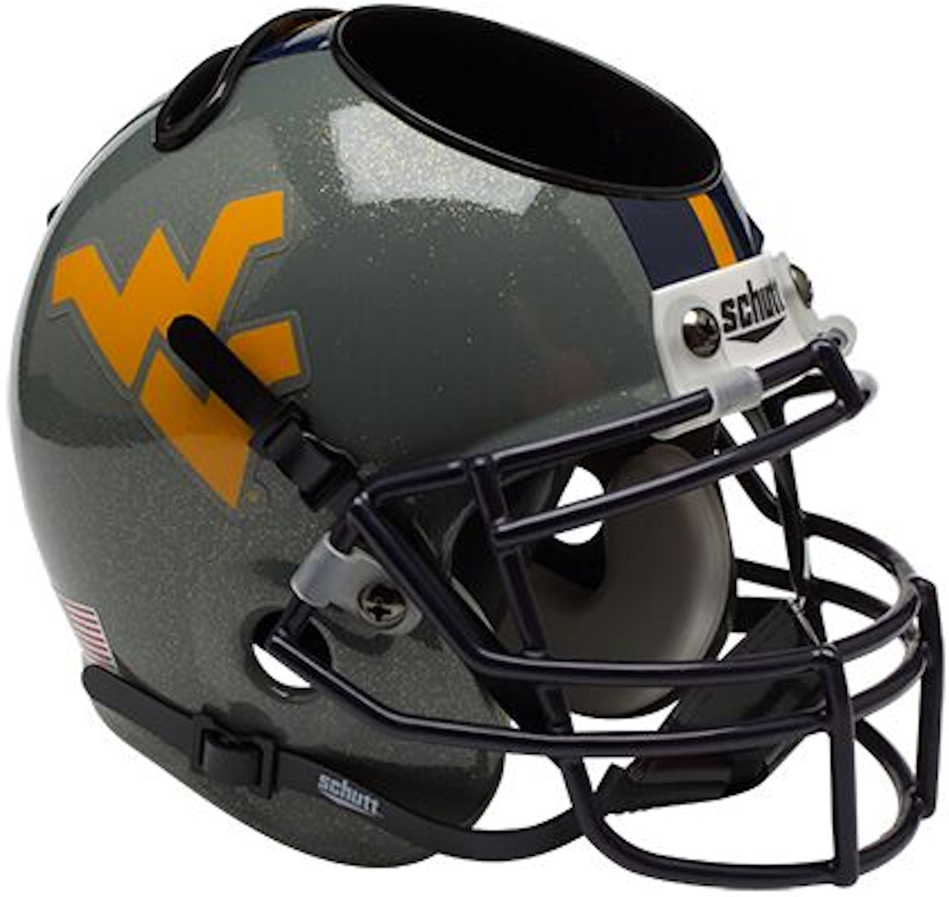 West Virginia Mountaineers Miniature Football Helmet Desk Caddy <B>Gray Sparkles</B>
