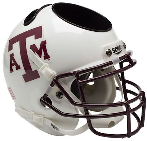 Texas A&M Aggies Miniature Football Helmet Desk Caddy <B>White Maroon Mask</B>