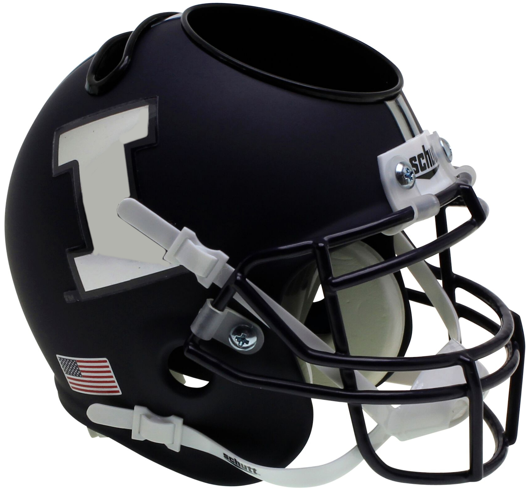 Illinois Fighting Illini Miniature Football Helmet Desk Caddy <B>Matte Navy Chrome Decal</B>