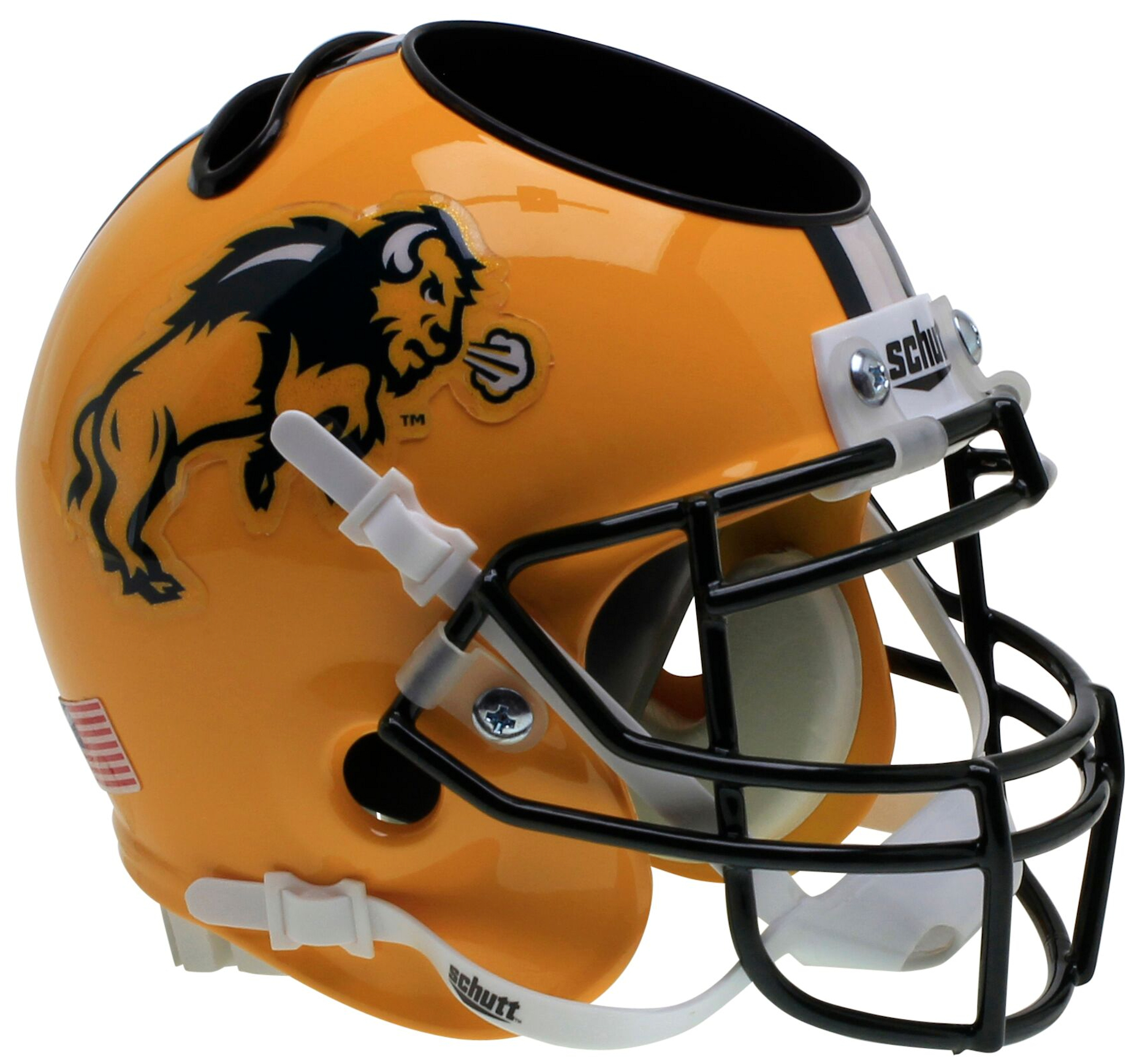 North Dakota State Bison Mini Football Helmet Desk Caddy <B>Glitter Flake Decal</B>