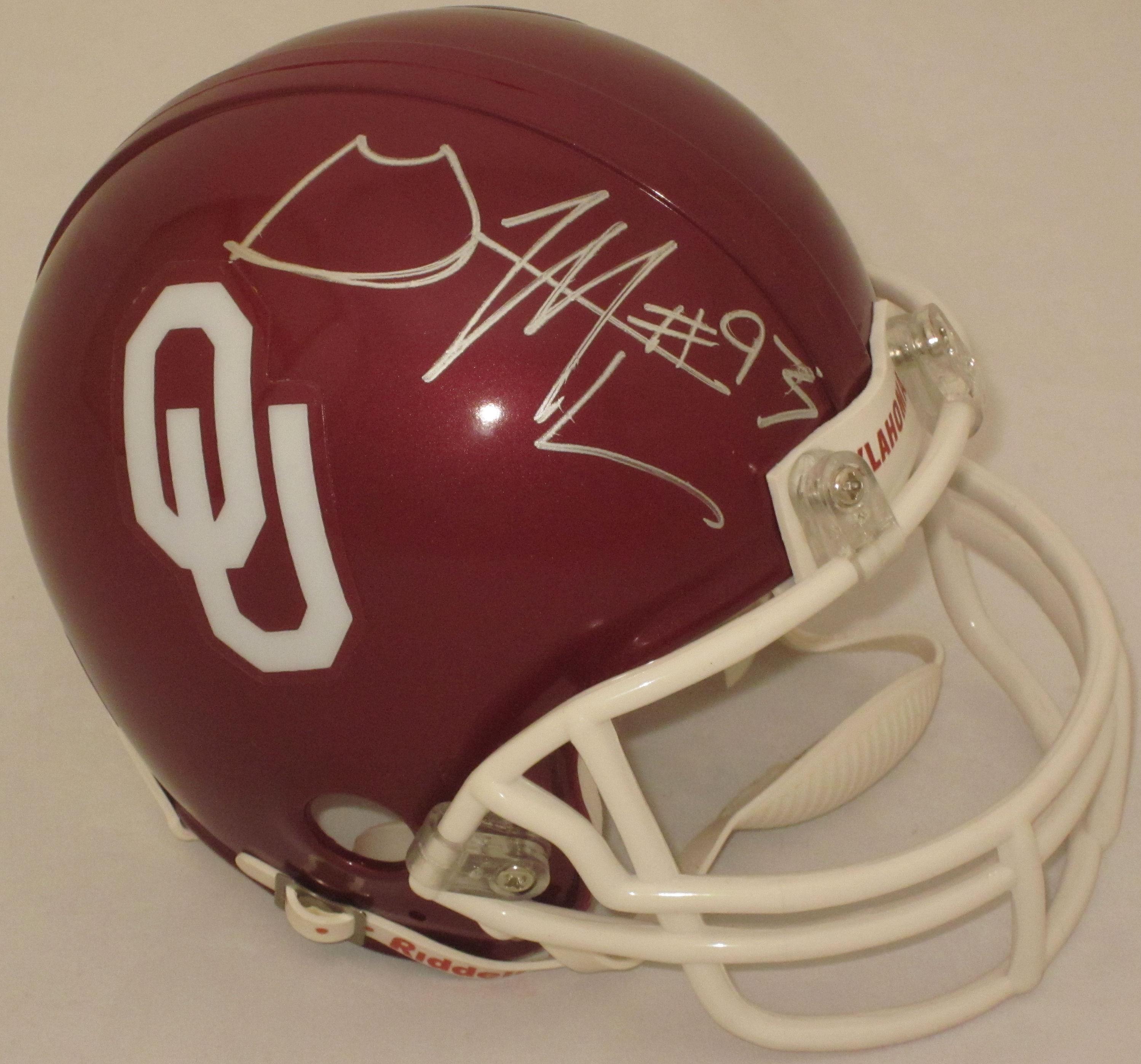 Gerald Mccoy Oklahoma Sooners Autographed Mini Helmet