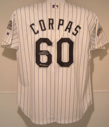 Manny Corpus Colorado Rockies Autographed Authentic Jersey