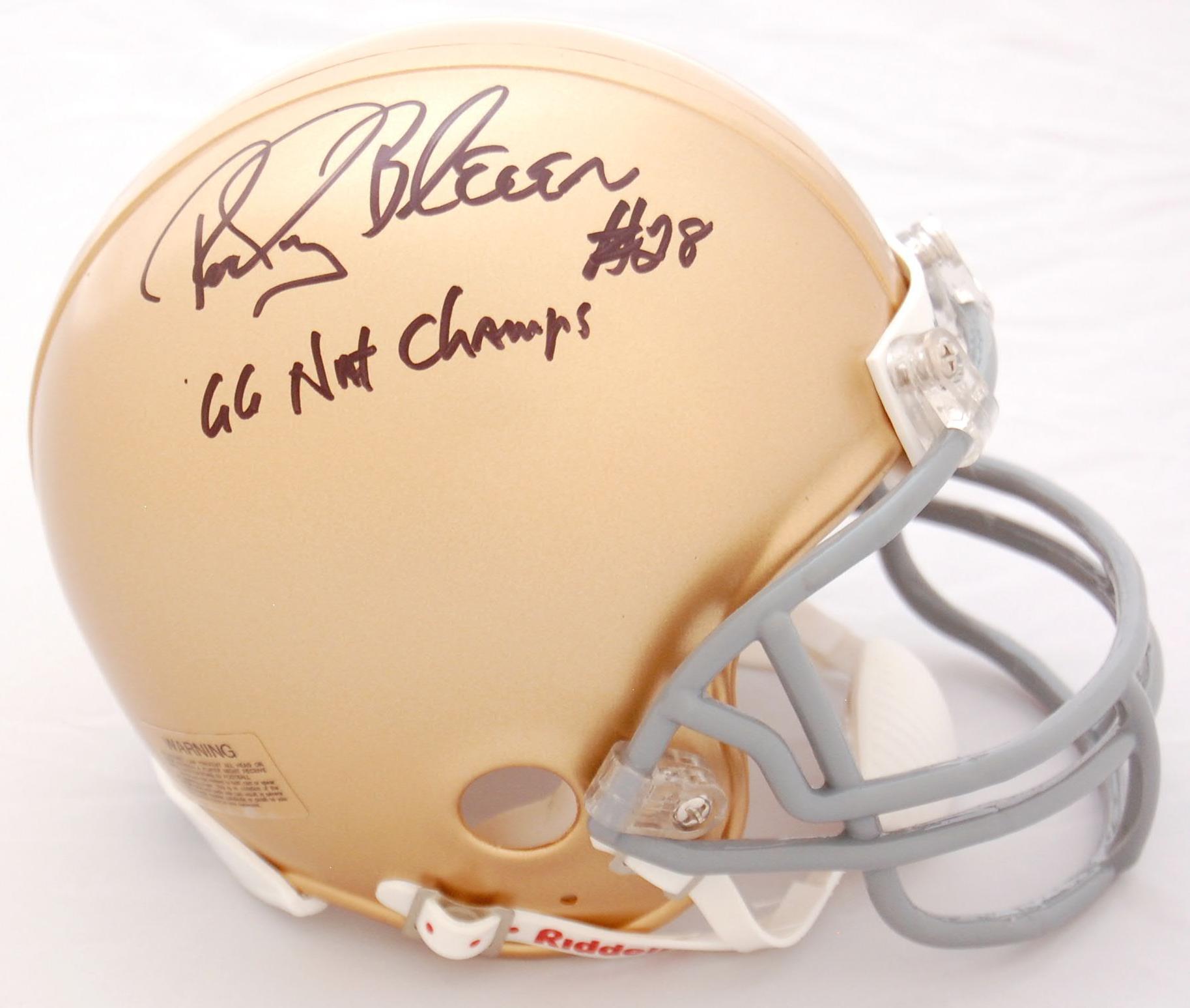 Rocky Bleier Notre Dame Fighting Irish Autographed Replica Mini Helmet