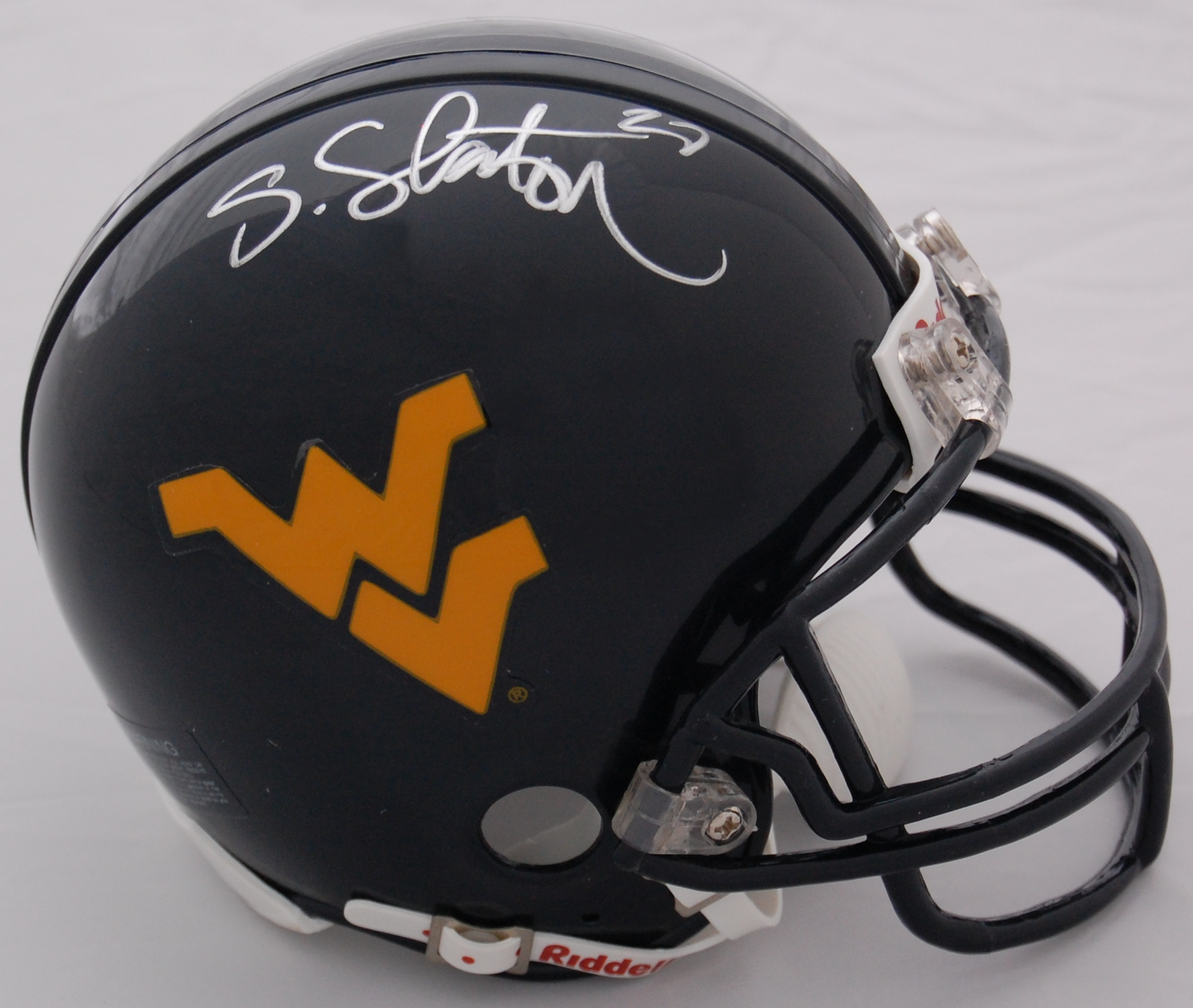 Steve Slaton West Virginia Mountaineers Autographed Mini Helmet