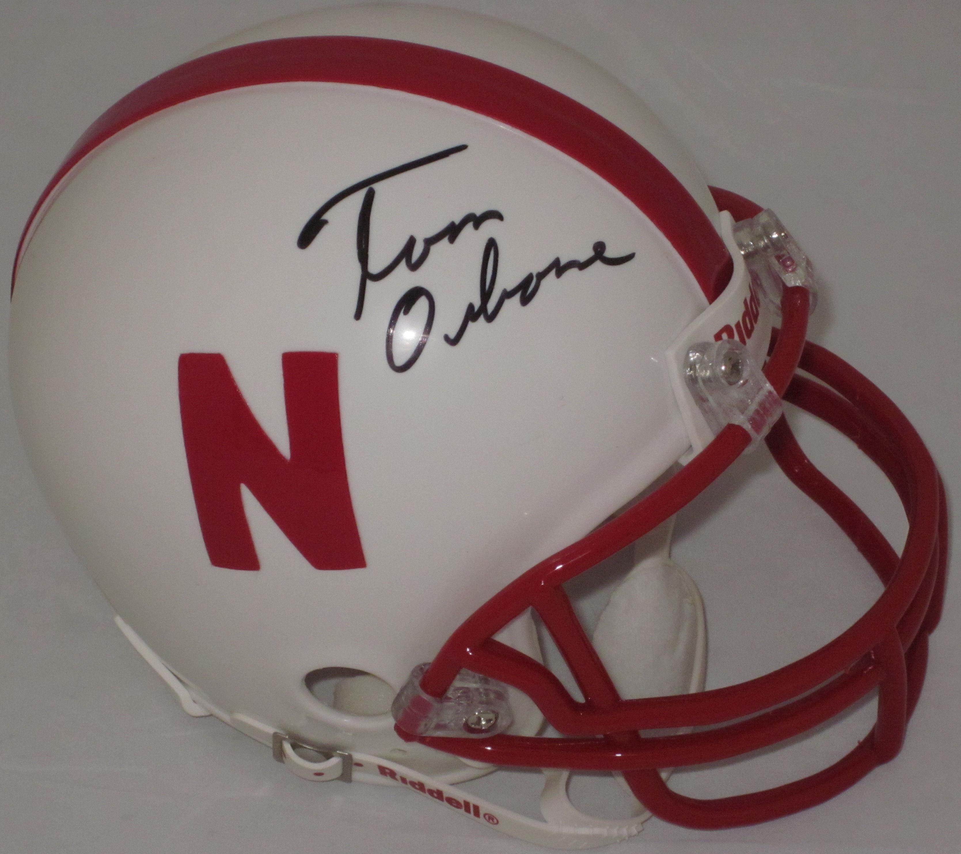 Tom Osborne Nebraska Cornhuskers Autographed Mini Helmet